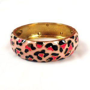 Betsey Johnson pink leopard hinged cuff bracelet